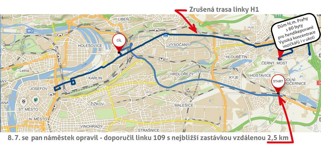 Doporučení náměstka Scheinherra, jak máme cestovat do centra Prahy - linka 109
