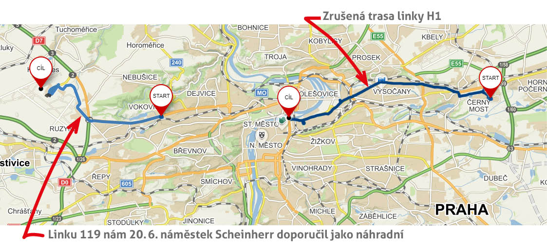 Doporučení náměstka Scheinherra, jak máme cestovat do centra Prahy - linka 119